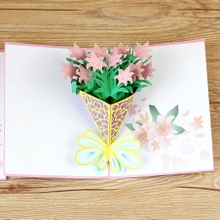 Christmas Flowers Three-dimensional Card Congratulations Creative Card Small Card to Senior Girls and Girls for the 20th New Year