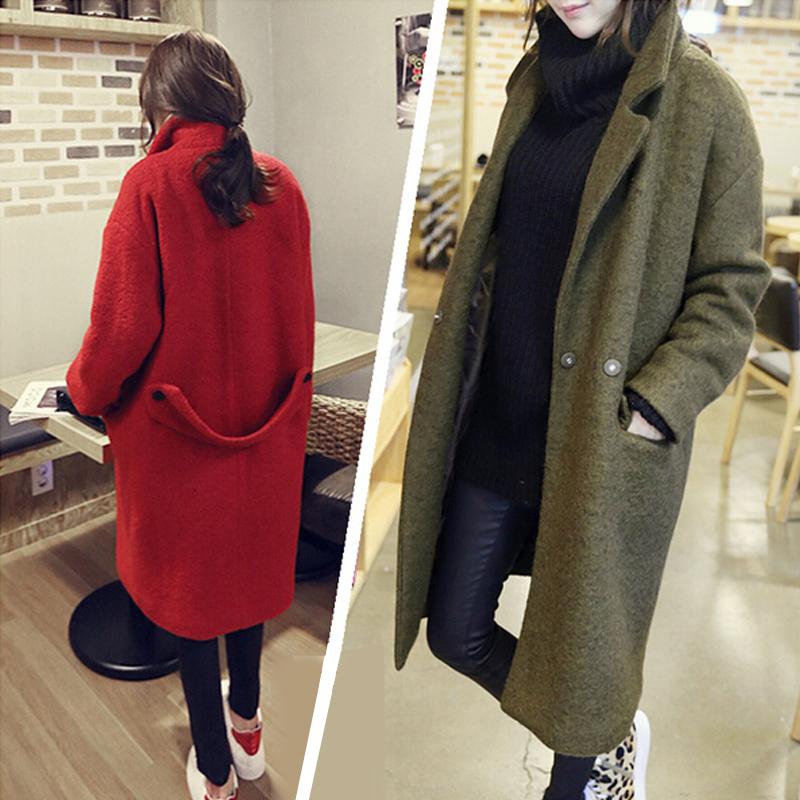 коконы одежды новых корейских женщин к 2015 году в зимний длинный тонкий шерстяные пальто шерстяной ткани в густой шерстяное пальто прилив