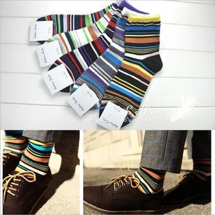 10双  韩版精梳棉男长袜子 秋款纯棉撞色英伦细条纹中筒棉袜潮