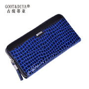 Gu Ti di Asia 2015 new wave female crocodile pattern long bi-fold wallets Jurchen first layer leather ladies wallet leather