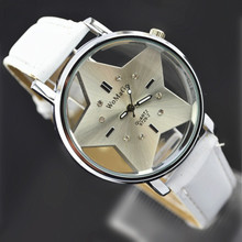 Package mail south Korean port of big dial harajuku wind transparent hollow out wet five-pointed star couple watches wholesale male and female high school students