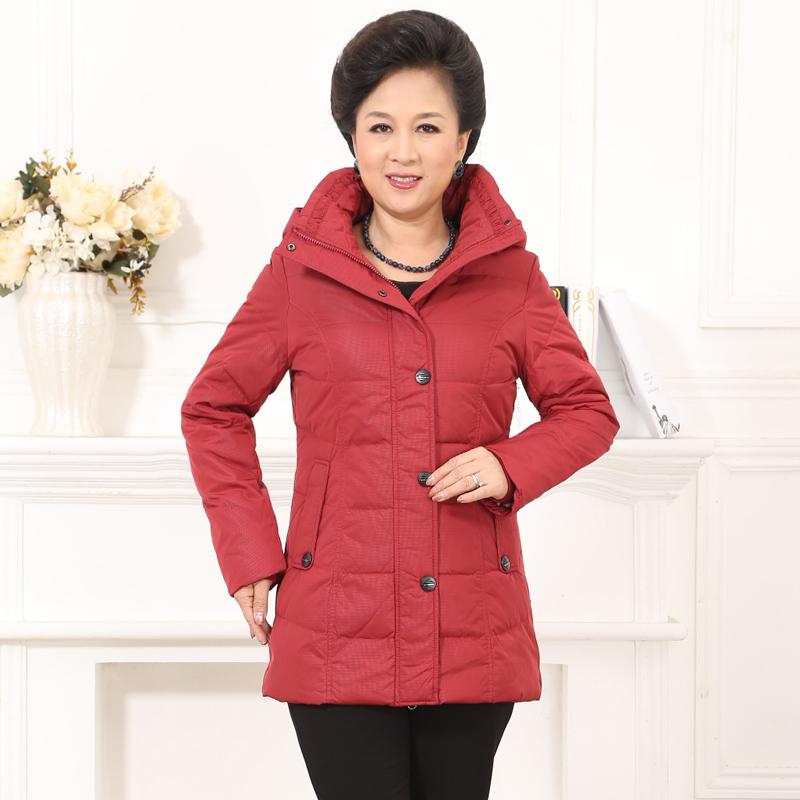 梦娜世家中老年妈妈款女直筒保暖休闲保暖中长款羽绒服促销2858