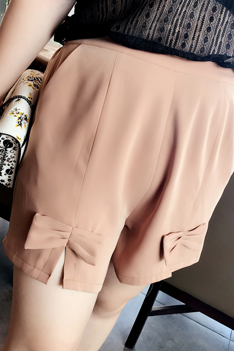 A simple homemade fat MM butterfly Chiffon Shorts Large Size Women 2017 summer new all-match thin wide leg pants