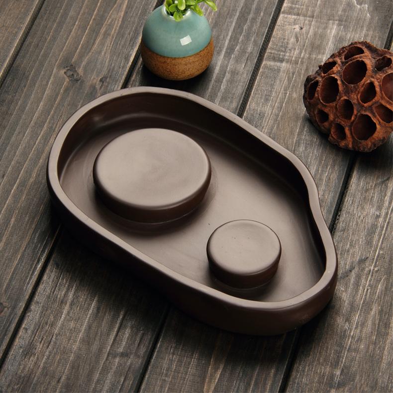 一壺兩杯茶具 宜興紫砂茶具 聚寶盆橢圓形流線 紫砂茶盤儲水式