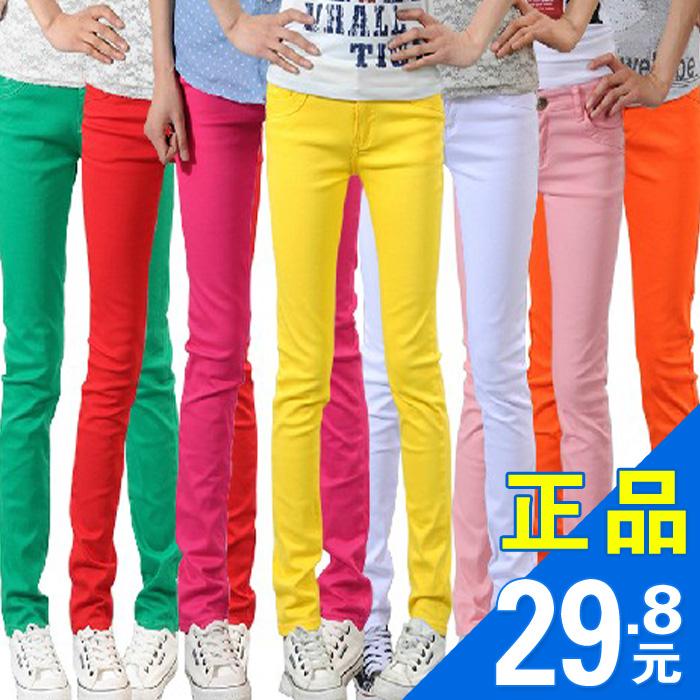 Цветной карандаш Брюки Весна новый 2016-Корейский тонкий женщин носить стрейч ноги в конце случайных длинные брюки