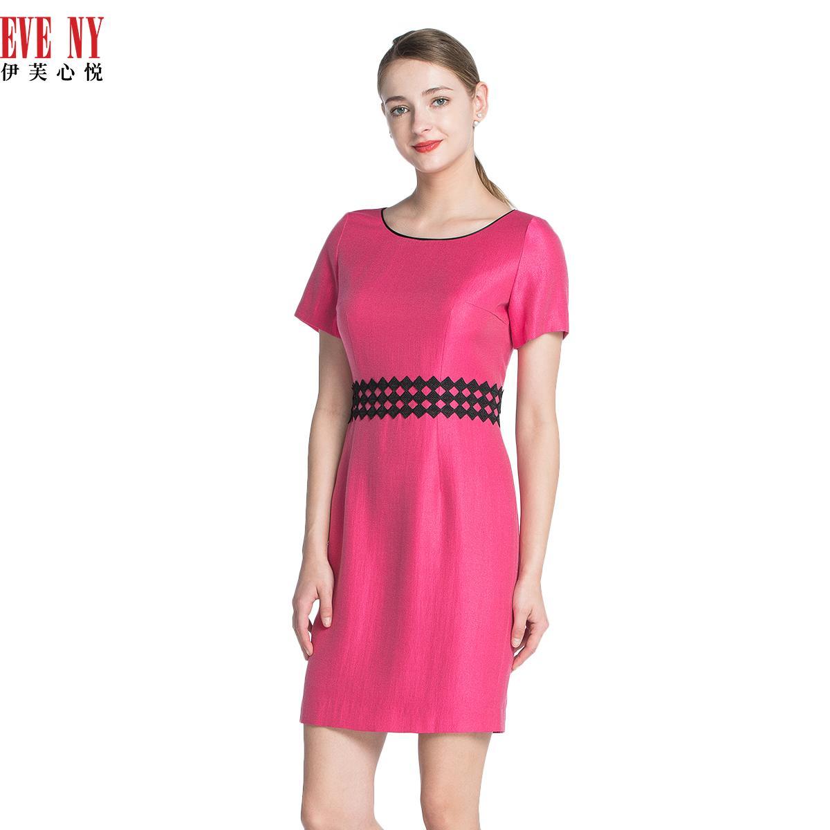 EVENY伊芙心悦夏季天猫女装新款通勤玫红收腰修身短袖连衣裙