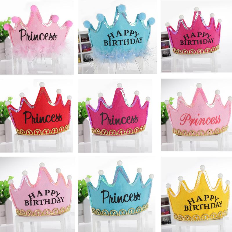 儿童生日派对帽发光头饰周岁宝宝生日帽皇冠帽成人装饰品蛋糕帽子