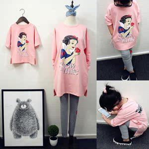 亲子装春装新款潮母女装韩版韩国卡通中长款长袖运动卫衣套装
