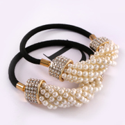 Know Richie temperament Pearl encrusted hair accessories hair band rope made by the Korean version of alloy rhinestone hair rubber band jewelry