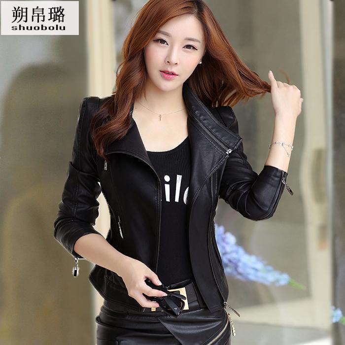 Spring and autumn 2020 new PU leather jacket womens short Slim small coat BF wind Korean locomotive fashion student leather jacket