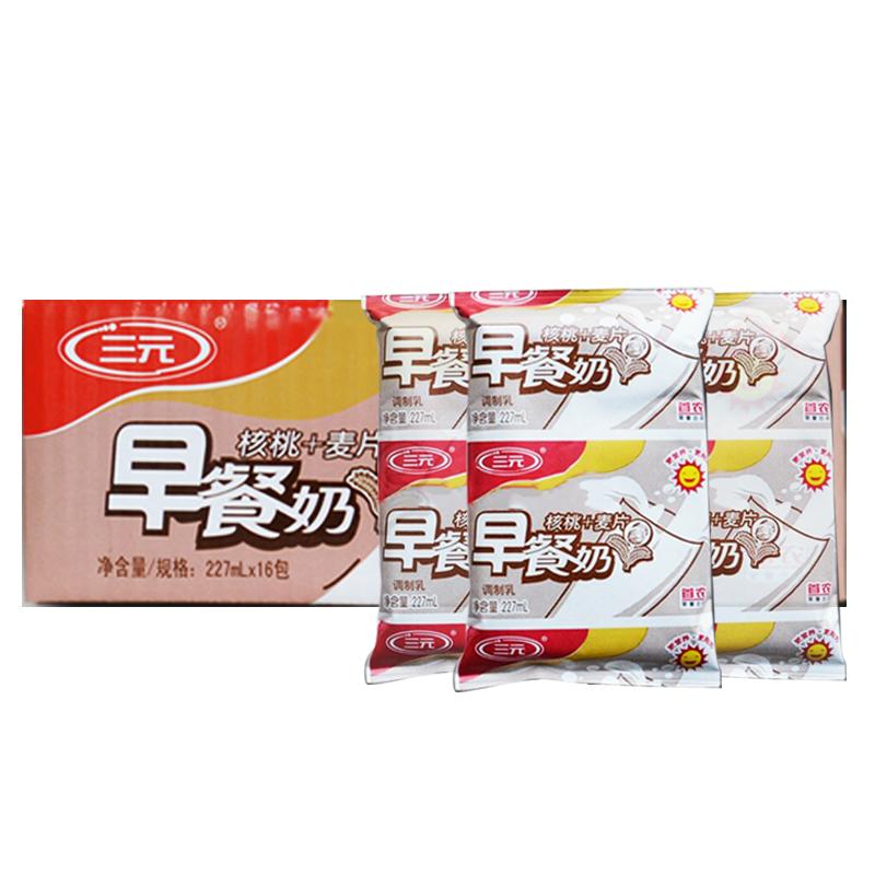 三元 早餐奶核桃 麥片227ml~16包 箱 營養牛奶飲品