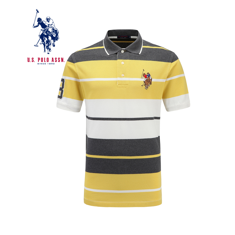 American Polo Association genuine stripe T-shirt short sleeve summer Paul SHIRT COTTON mens Polo Shirt