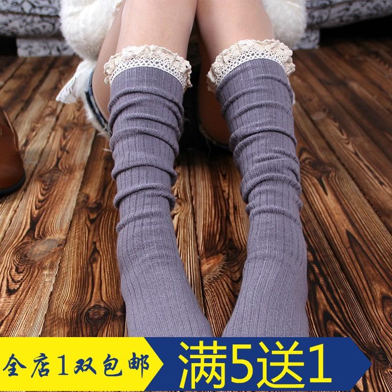 Новый японский поворот на осень/зима вязание чулки кружева колено ноги Носки хлопчатобумажные носки