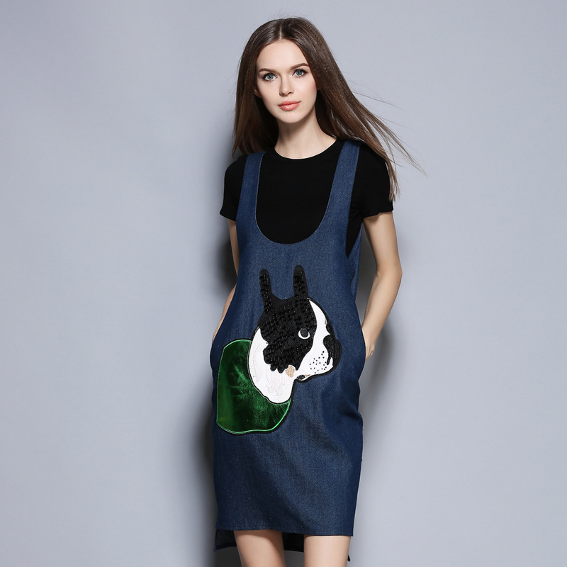2017 summer new European and American womens T-shirt + dog head nail bead strap washed denim skirt fashion casual suit