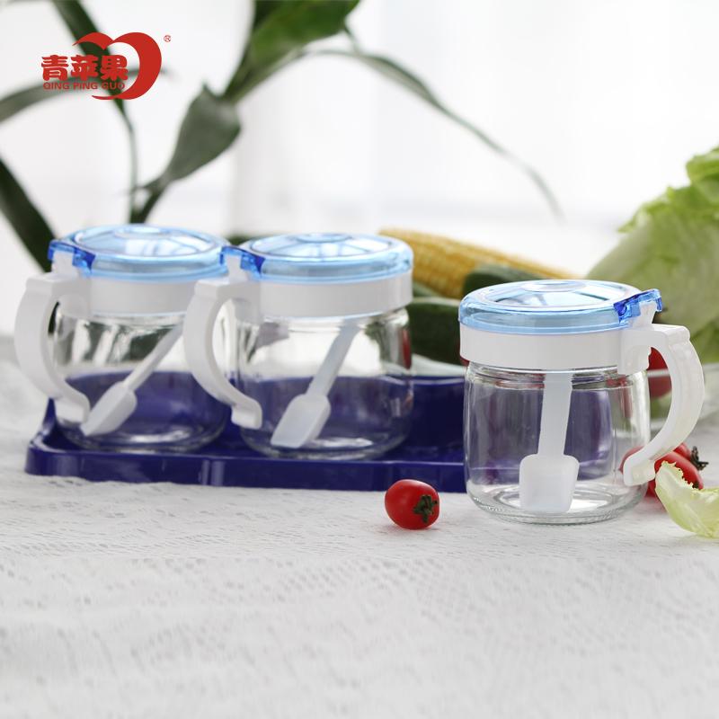 ~天貓超市~青蘋果玻璃調味罐3件套帶底座 家用廚房調味盒套裝