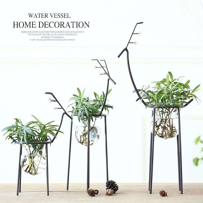 歐式水培容器 家居花瓶玻璃植物器皿鐵藝鹿客廳裝飾擺件裝飾品