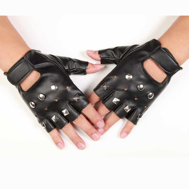 Leather tactical gloves mens and womens punk hip-hop dance half finger leather gloves open finger performance gloves Luo Zhixiang