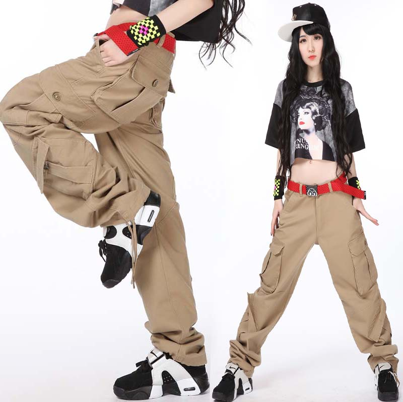 嘻哈hiphop街舞宽松多袋裤工装休闲女裤运动裤街头滑板潮流女裤