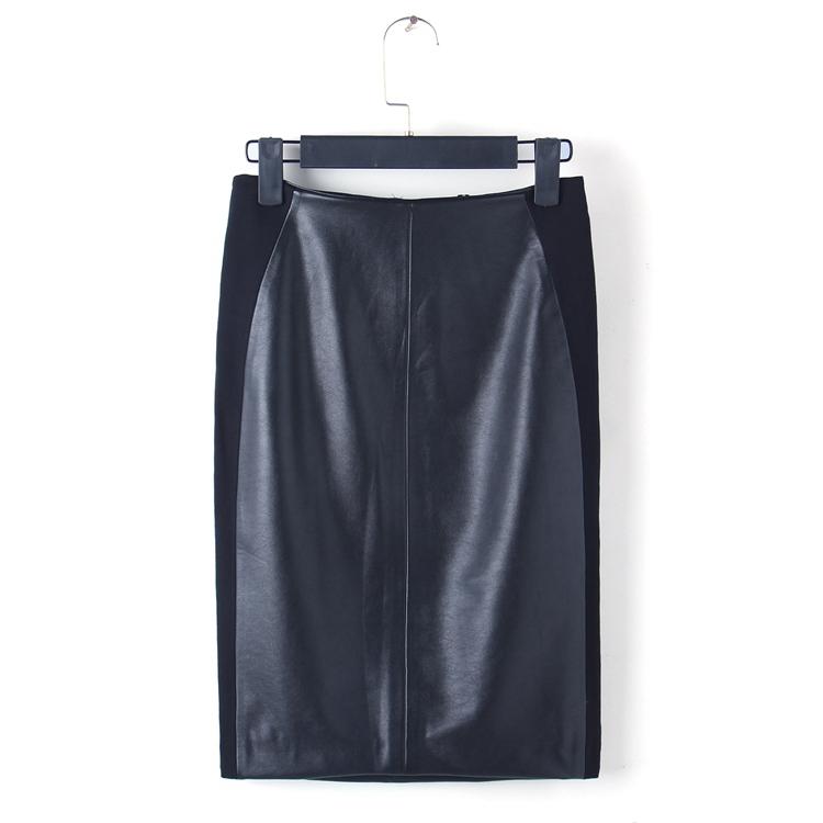 Внешняя торговля оригинальный 2016 осень новый Джокер высокой талией хип юбки женщин Pu кожа шить в черном платье