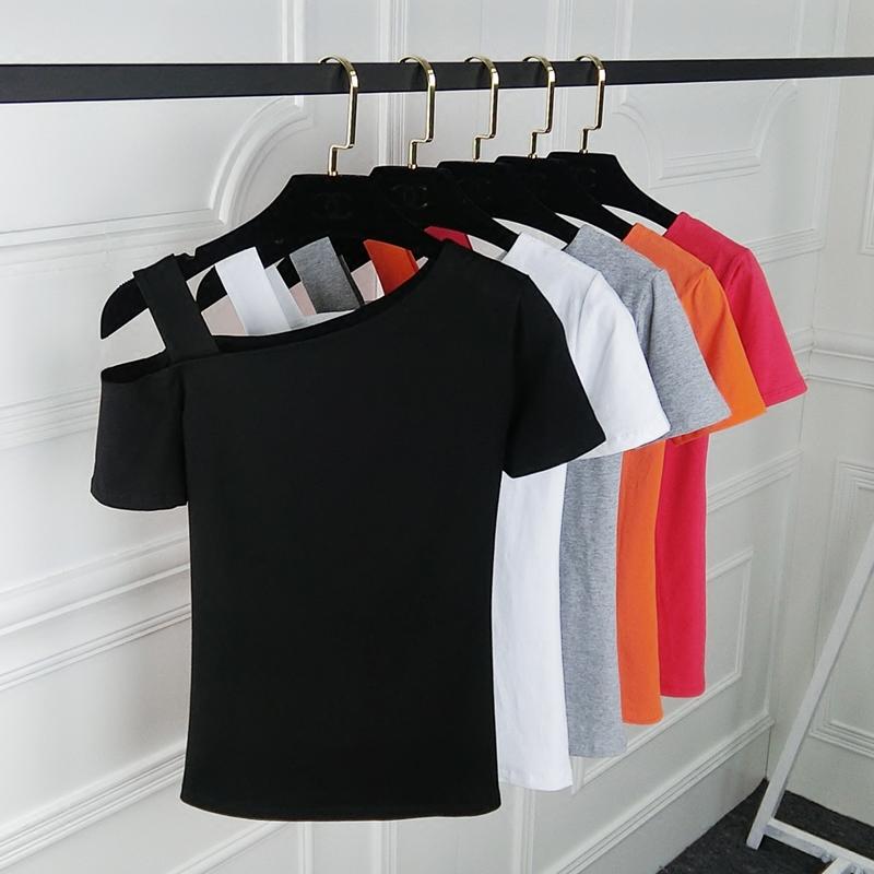 夏季韩版纯色斜肩吊带上衣T恤女装短袖 百搭黑色漏肩半袖女打底衫