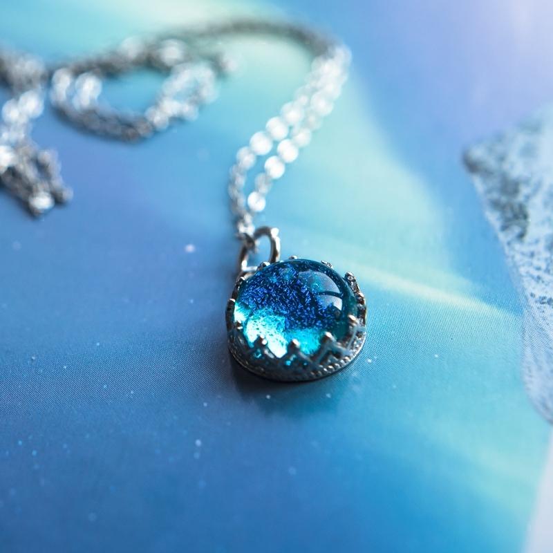冰岛镶嵌捷克琉璃宝石原创英国进口银托 925纯银项链吊坠银饰银链 Изображение 1