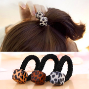 Know Richie Leopard flower head rope Korean coarse hair band hair ornaments made by the Candy-colored rubber band tiara