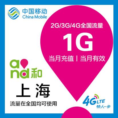 sh 上海移動流量1G 全國 流量充值