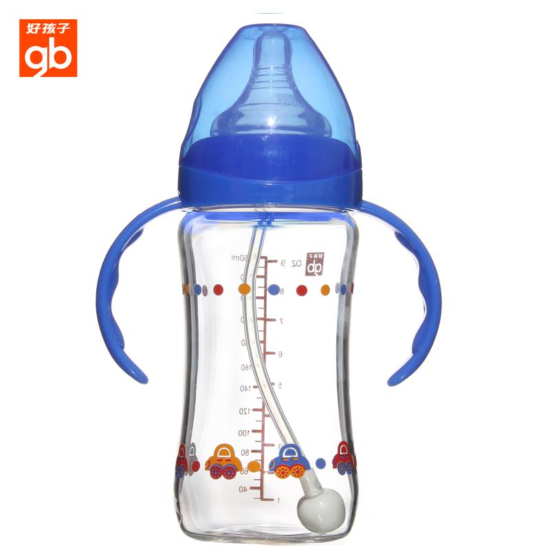 好孩子/goodbaby母乳实感宽口径握把吸管玻璃奶瓶260ml 四种系列