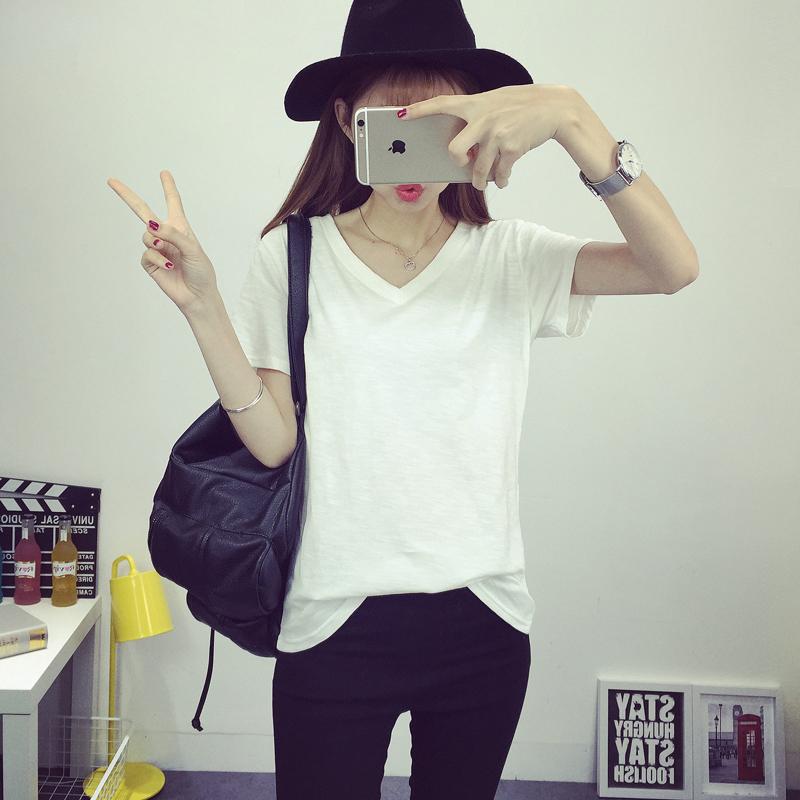 女裝上衣V領白色t恤女夏裝短袖 韓國半袖女士打底衫純棉衣服