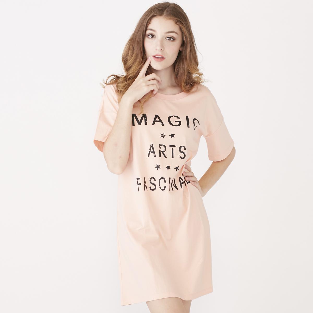 朗緒女式簡約字母元素短袖睡裙