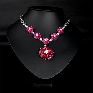 非常泰925银毛衣链合成红宝石花朵爱心项链 精致高端首饰 女生