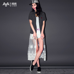 Seven Princess OTHERMIX black and white printed mesh mosaic fake two piece short sleeve shirt women