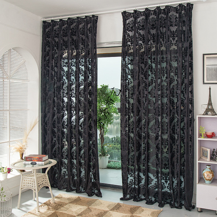New products on the market black imported velvet window screens black curtains customized