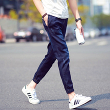 In the summer of 2015 the new Japanese tide male jeans nine minutes of pants Cultivate one's morality feet feet pants pants trend Jane constraints Men's trousers