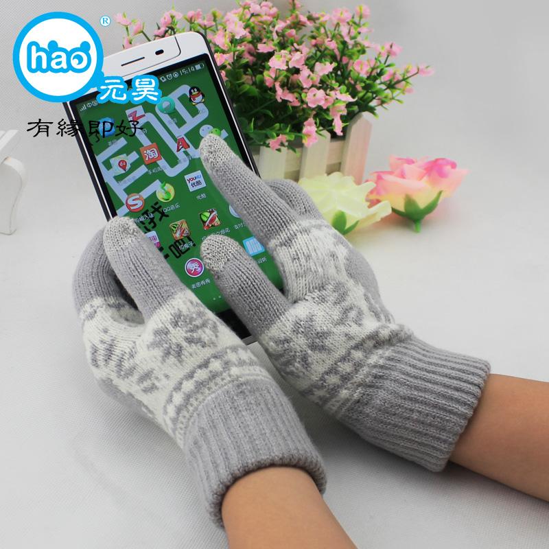 Юань Хао краба два пальца сенсорный экран перчатки классический жаккард старый осень и зима обязательно послал родителям подарочный мешок mail