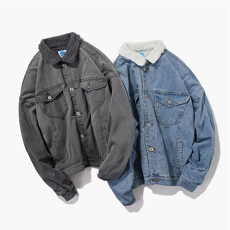 Новый японский стиль оригинальных цветов зимой на носить вымыть тонкий теплое пальто пиджак ягненка хлопок джинсовые шерсти