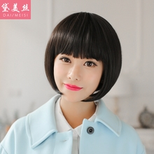 Her beautiful silk wig women sweet BOBO head fashion lady short straight hair Bob is neat bang wig