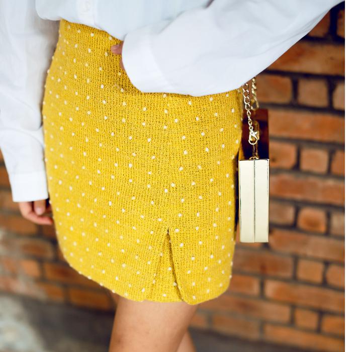 包邮包臀裙韩国东大门原版复古显瘦百搭羊毛小圆点A字短裙半身裙
