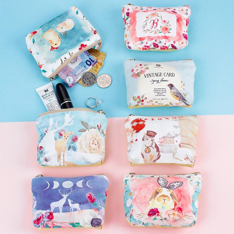 Милый кошелек женщина студент мини монета завернутый искусство мультики простой портативный портативный рука небольшие сумки количество бумажник