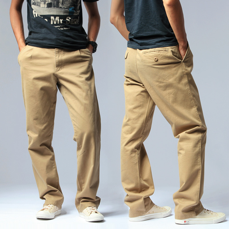 Free mail spring and summer thin mens cotton loose overalls casual pants pants mens washed straight Pants Large