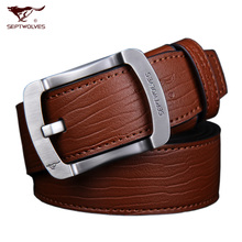 Septwolves men needle belt buckle han edition authentic cowhide leather belt brown tide student pidai teenagers