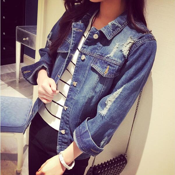 Плюс размер джинсовая куртка девушки осень с длинным рукавом тонкий обрезанные джинсовые куртки отверстия плавности студента Корейский короткие куртки