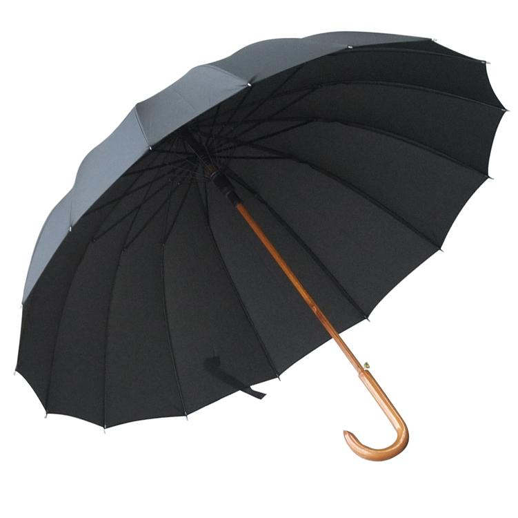 包邮QIUTONG木中棒加大长柄晴雨伞115cm实木弯柄抗风双人伞可定制