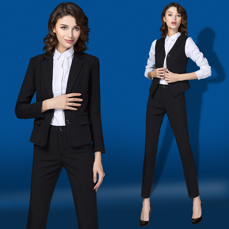 職業裝女裝套裝秋西服套裝女士正裝移動工作服西裝職業馬甲女套褲