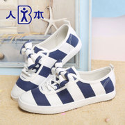 People this new style canvas shoes women students in the fall striped shoes Korean lazy bow flat