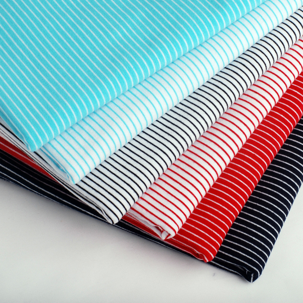High grade all cotton superfine wide Pinstripe fabric knitted elastic Lycra fabric dress vest T-shirt clothing