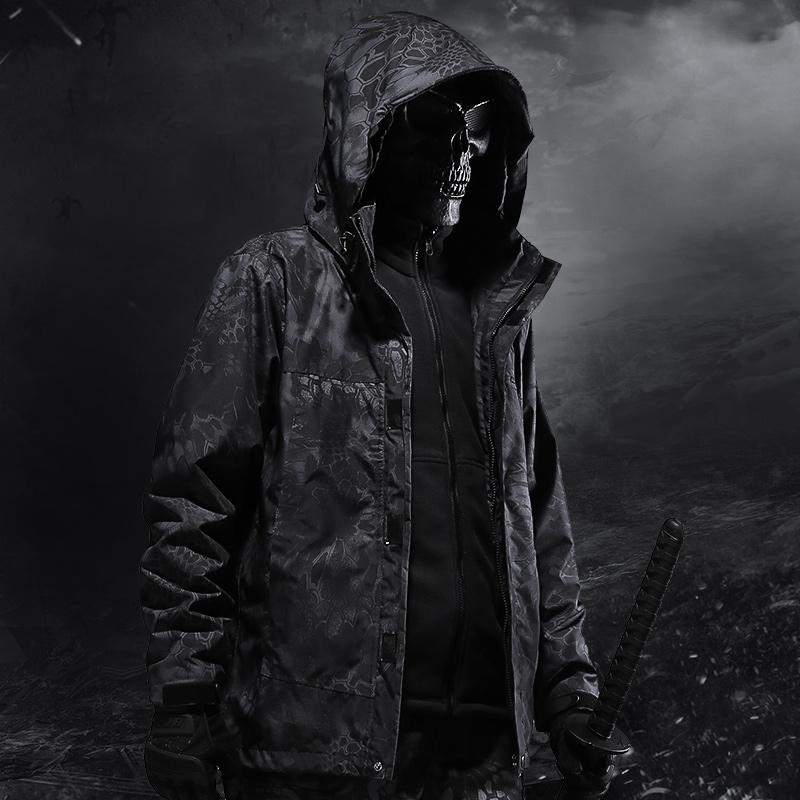 cqb軍迷服飾大碼防水透氣戰術外套 三合一兩件套衝鋒衣男 迷彩服