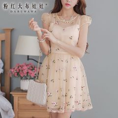 Dress big pink doll 2015 summer slim short sleeve organza embroidery lace dresses