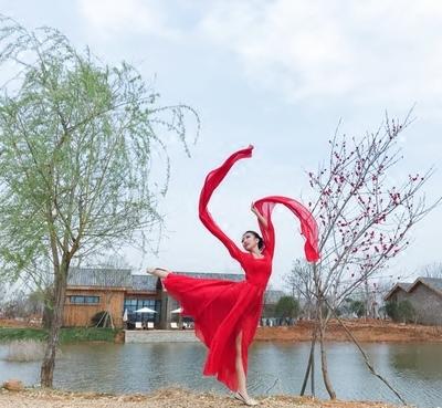 古典演出服水袖舞蹈 2018新款古�b�h服 采薇舞服�@��舞表演服�t色