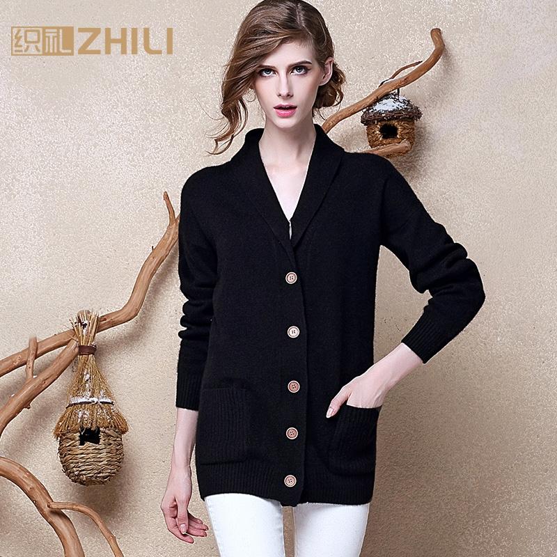 Тканый осень 2015 новые кашемировые свитера женские костюмы утолщенные v-образным вырезом свитер пальто кардиган кашемира пальто